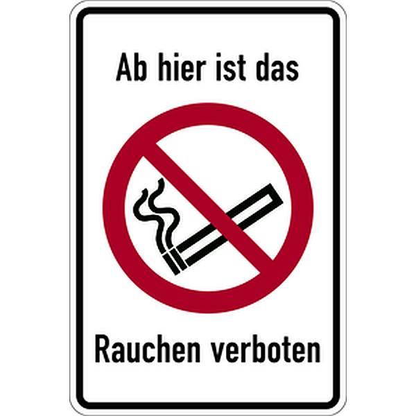 Aufkleber Ab hier ist das Rauchen verboten mit Symbol und Text 100x150mm