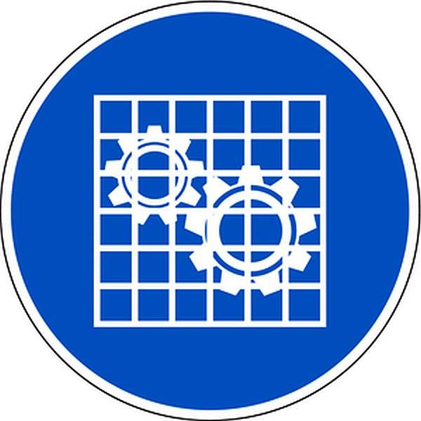 Aufkleber Absperrung prüfen DIN EN ISO 7010-M027 Ø100mm selbstklebend