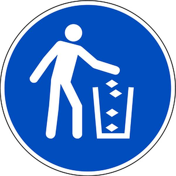 Aufkleber Abfallbehälter benutzen DIN EN ISO 7010-M030 Ø100mm selbstklebend