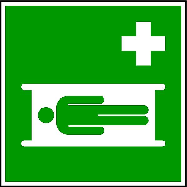 Winkelschild Krankentrage DIN EN ISO 7010 150x150mm PVC nachleuchtend
