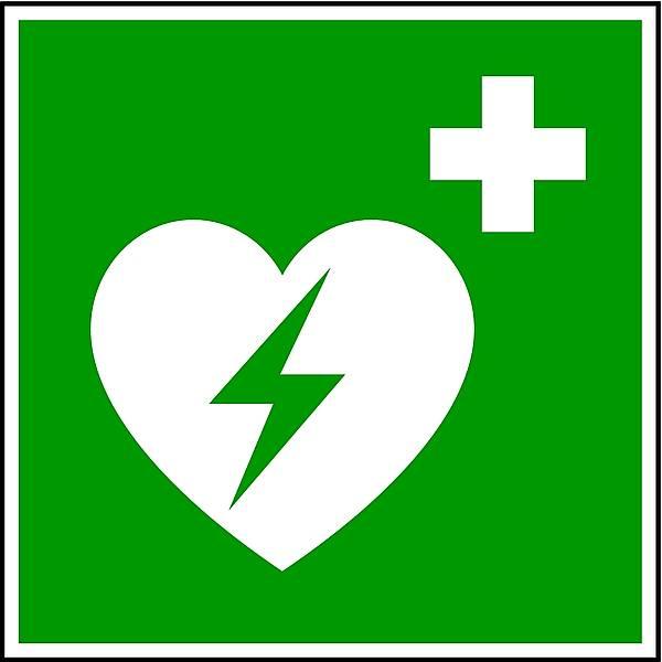 Winkelschild Defibrillator DIN EN ISO 7010 150x150mm PVC nachleuchtend