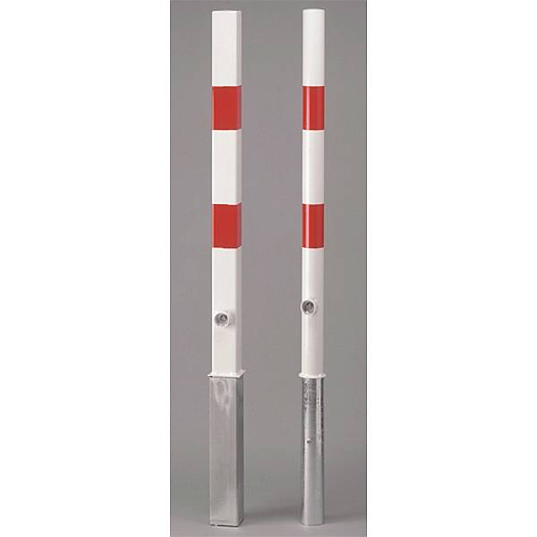 Absperrpfosten m.Bodenhülse Parky mit Verschl. weiß/rot reflekt.Vkt.7x7cmHöhe 1m