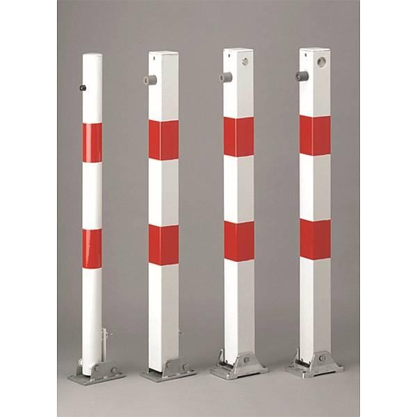 Absperrpfosten umklappbar abschließb.nicht enth.weiß/rot reflekt.Vkt.7x7cmHöhe1m
