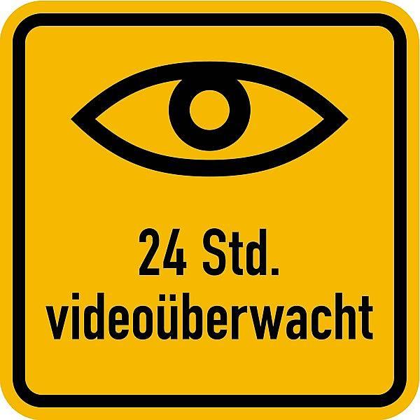 """Aufkleber """"24 Std. videoüberwacht"""" mit Augensymbol 100x100mm selbstklebend"""