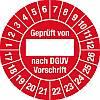 100x Prüfplakette Geprüft...DGUV Vorschrift, 2017-2026, Dokumentenfolie, Ø 2,5cm