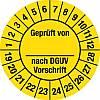 100x Prüfplakette Geprüft...DGUV Vorschrift, 2019 - 2028, Dokumentenfolie, Ø 3cm