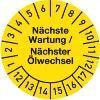 Nächste Wartung / Ölwechsel Jahre 12-17 Monate 1-12 30mm Ø gelb schwarz 100St.