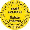 Prüfplakette - geprüft nach BGV A3 Nächster Prüftermin 12-17, 30mm Ø gelb 100St.