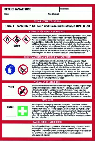 Betriebsanweisung Küche | Schild Pvc Betriebsanweisung Fur Heizol El Und Dieselkraftstoff Ghs